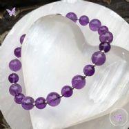 Amethyst & Silver Bead Bracelet